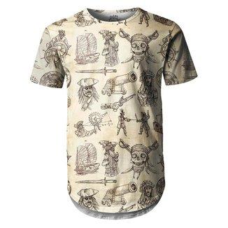 Camiseta Masculina Longline Swag Piratas Estampa Digital  - P