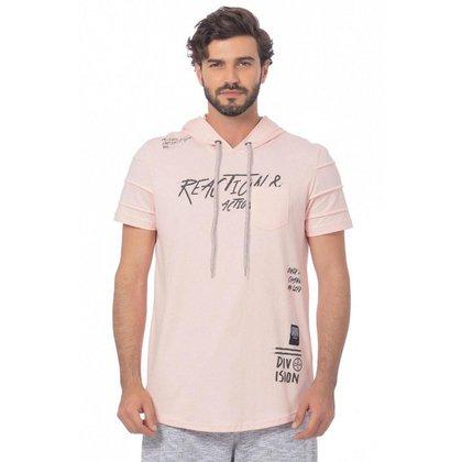 Camiseta Masculina Manga Curta Com Bolso E Capuz BGO - ROSA - GG