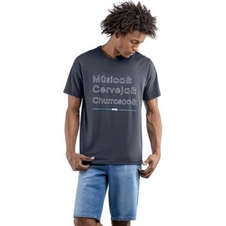 Camiseta Masculina Musica Cerveja E Churrasco No Stress - AZUL - G