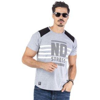 Camiseta Masculina Recorte Ombros No Stress - CINZA - G