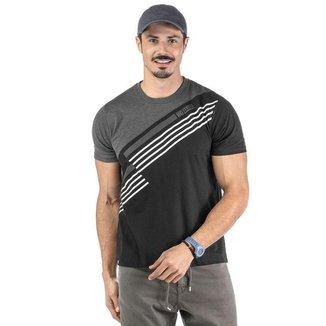 Camiseta Masculina Recorte Transversal No Stress - VERMELHO - M