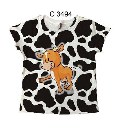 Camiseta Menina Infantil Desenho Vaquinha Country C3494