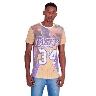 Camiseta Mitchell & Ness Estampada City Pride Los Angeles Lakers Masculino