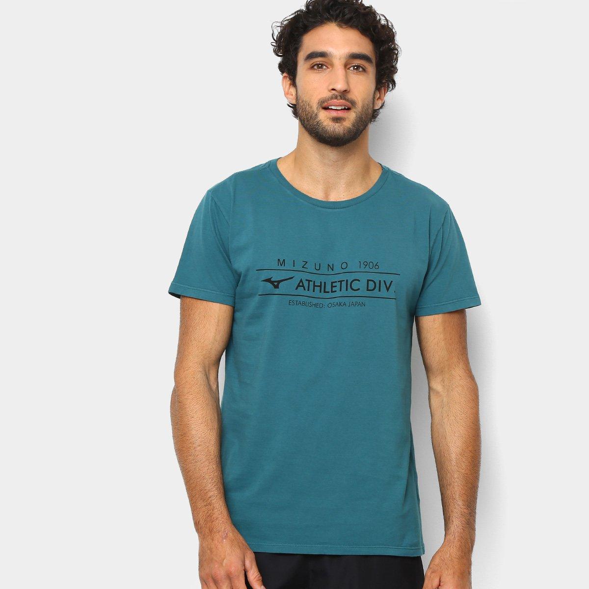 Camiseta Mizuno Athletic Div Masculina - Verde e Preto - Compre ... 8cee72289b828