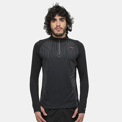 Camiseta Mizuno Run Knit Bt Zip Manga Longa Masculina