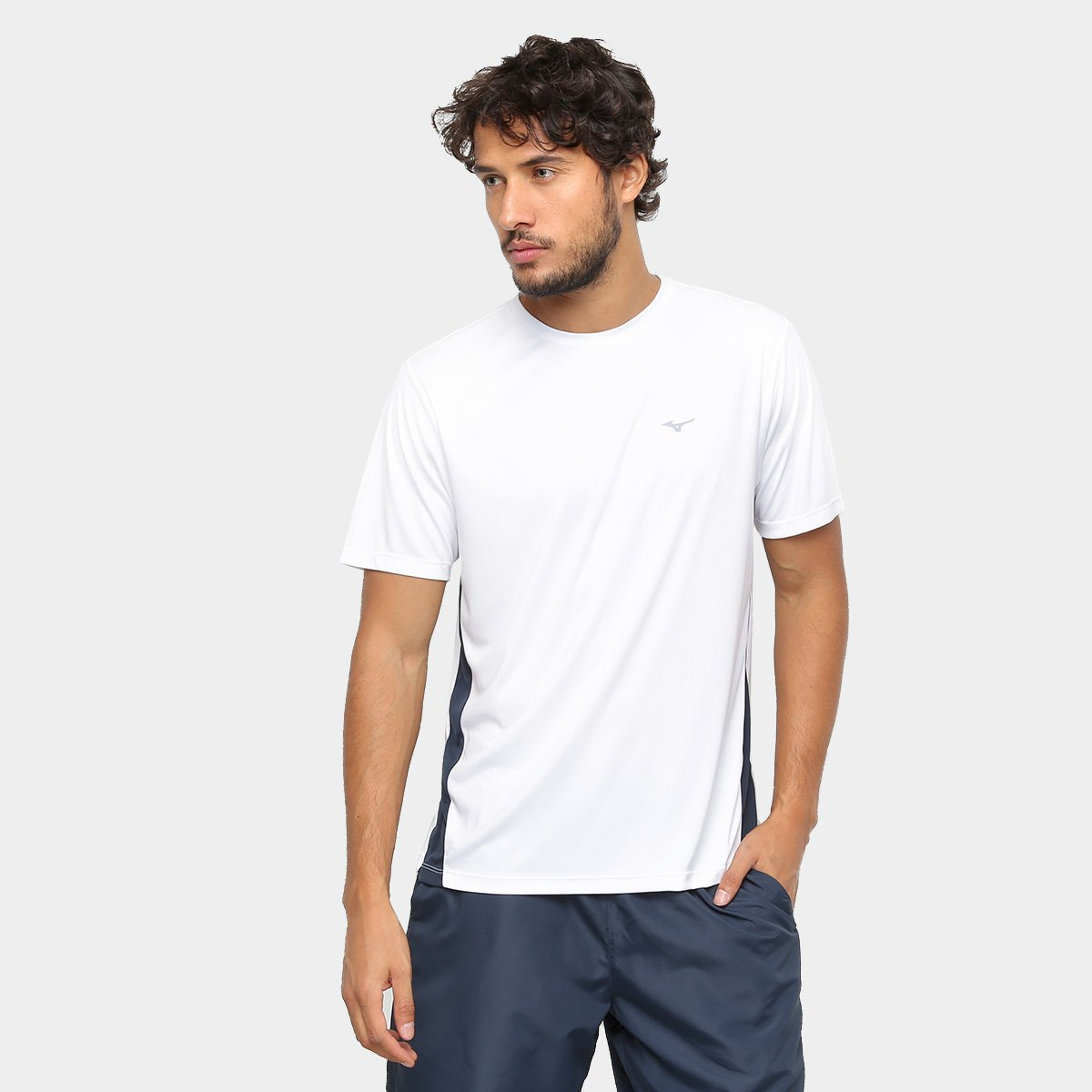 dfc434bc86 Camiseta Mizuno Wave Run New Masculina - Branco e Cinza - Compre ...