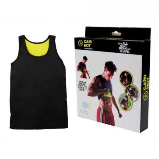 Camiseta Modeladora Masculina Cinta Redutora Térmica Shaper Regata Hot Neoprene - Preto