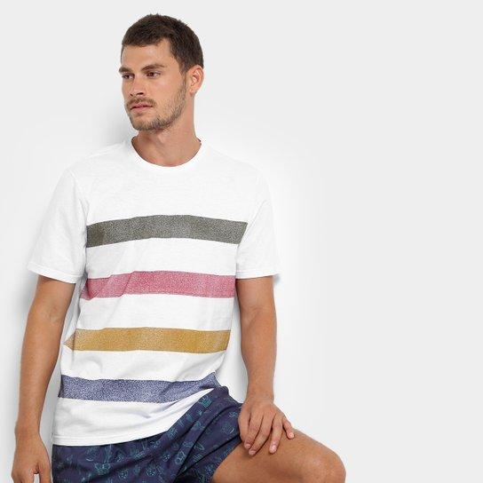 Camiseta Mood Full Triped Masculina - Branco
