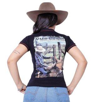 Camiseta Muladeiros Feminina Country Gola Polo Preta