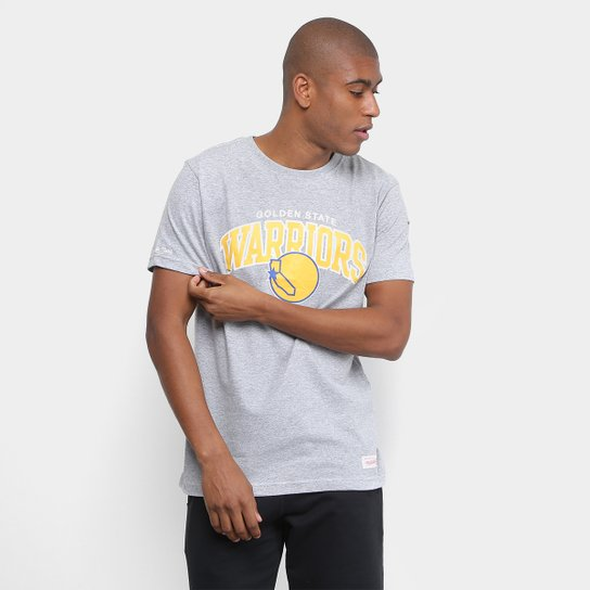 Camiseta NBA Golden State Warriors Mitchell & Ness Arch Masculina - Cinza