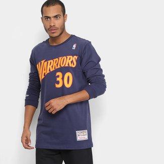 Camiseta NBA Golden State Warriors Mitchell & Ness Manga Longa Stephen Curry Masculina