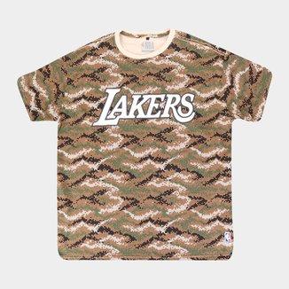 Camiseta NBA Los Angeles Lakers Camuflada Plus Size Masculina