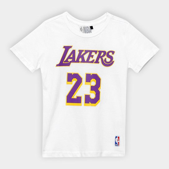 Camiseta NBA Los Angeles Lakers Infantil Est 23 - Branco