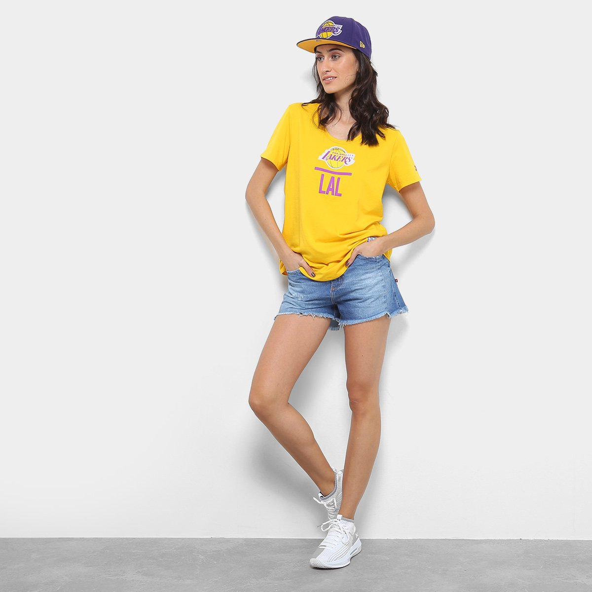 Camiseta Under Armour Lakers NBA Amarelo Camiseta NBA Under Armour Feminina Combine 4P4qp