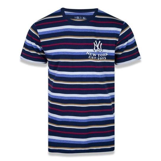 Camiseta New Era College Stripe Masculino - Azul