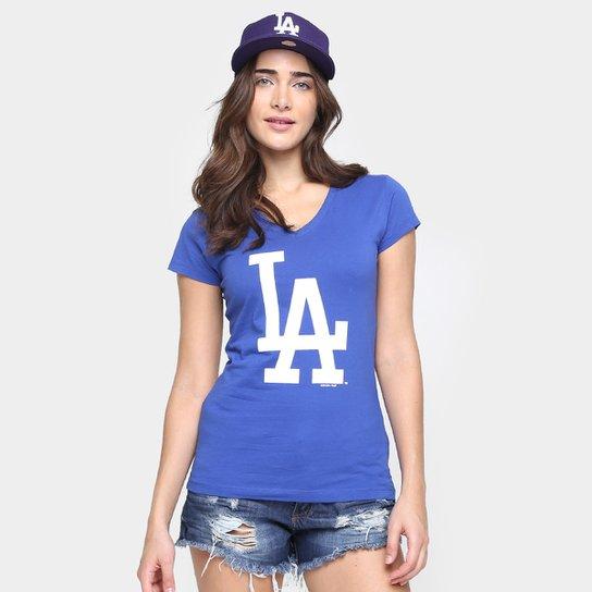 Camiseta New Era MLB Babby Look Los Angeles Dodgers Feminina - Azul Royal