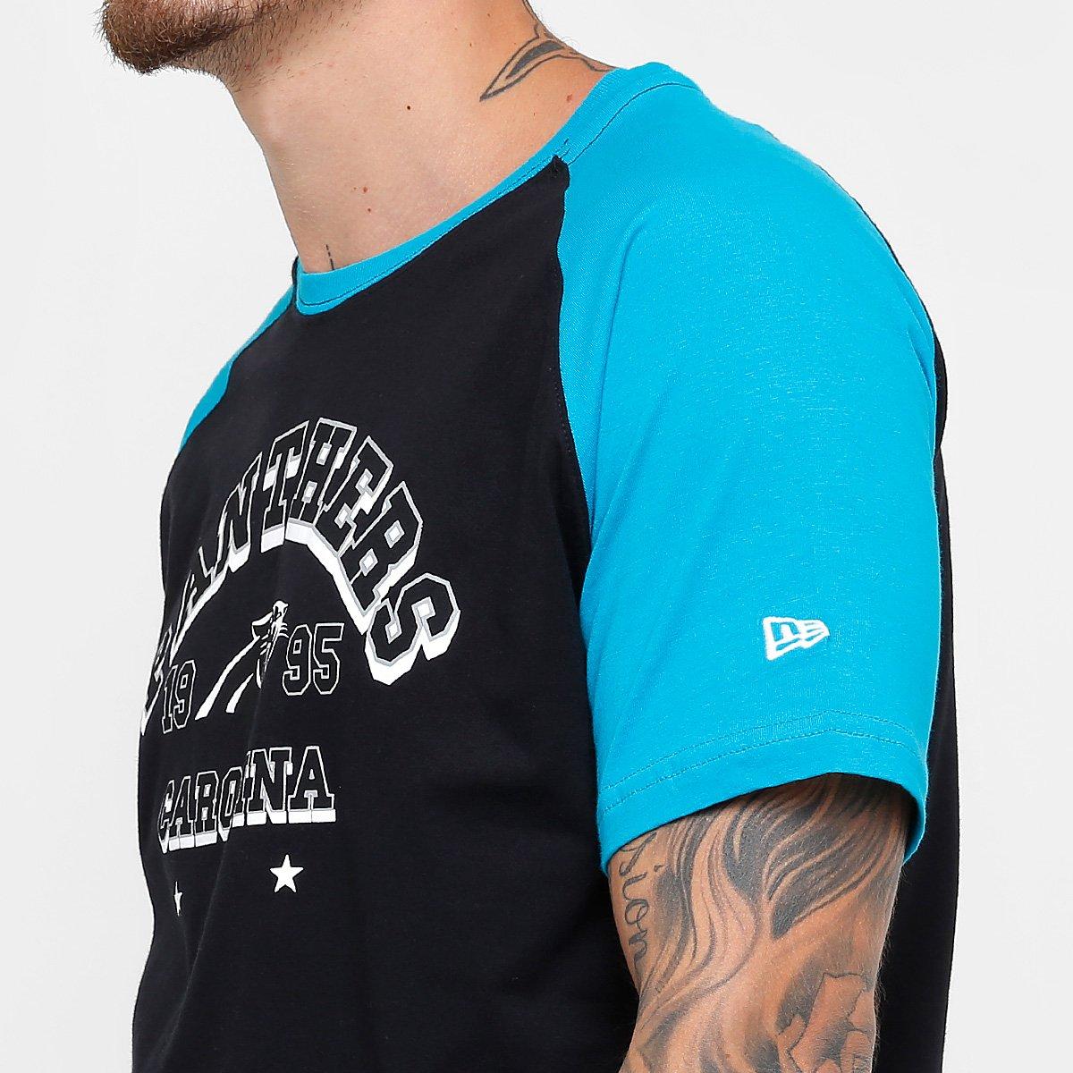 Camiseta New Era NFL Carolina Panthers Sinse Team Masculina - Preto ... 60bf0dd3836