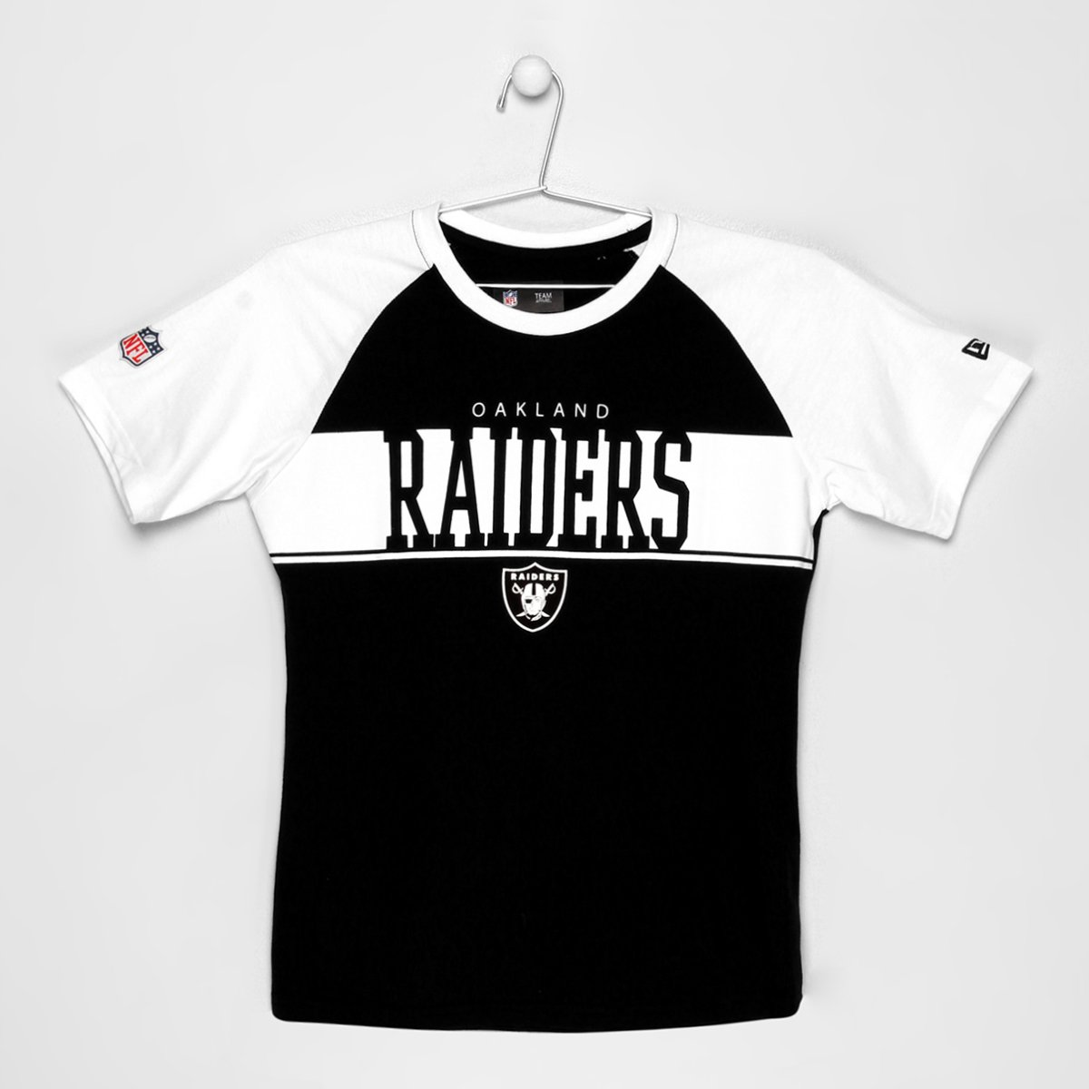 db4a2102cc6c8 Camiseta New Era NFL Raglan Oakland Raiders Infantil - Compre Agora ...