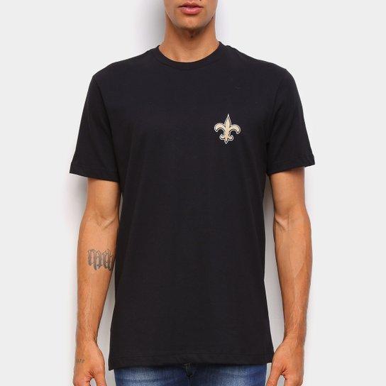 Camiseta NFL New Orleans Saints New Era Logo Shield Masculina - Preto