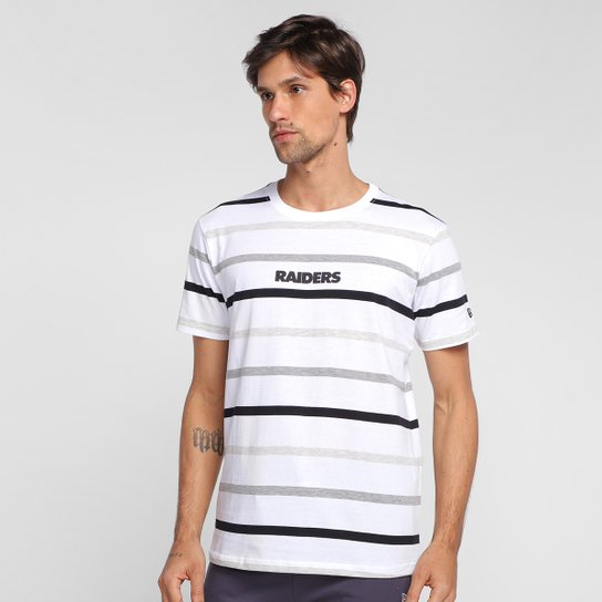 Camiseta NFL Oakland Raiders New Era Color Stripe Full Masculina - Branco