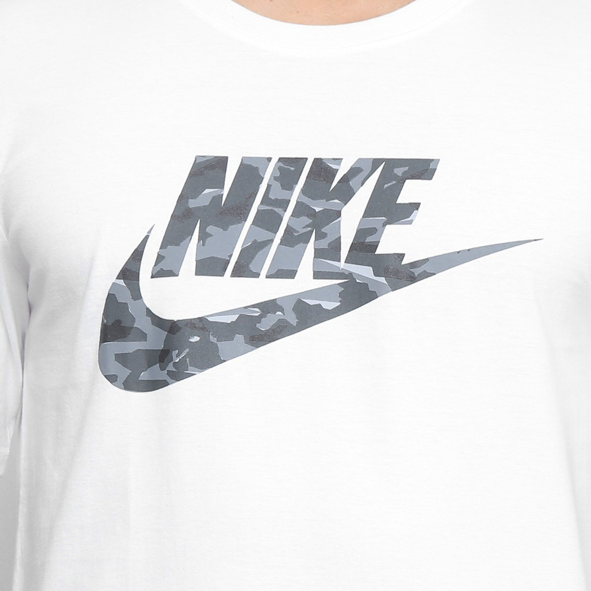 3ca9f5ea00160 ... cbdfd8d852c Camiseta Nike Camo Pack Masculina - Branco e Cinza - Compre  Agora .