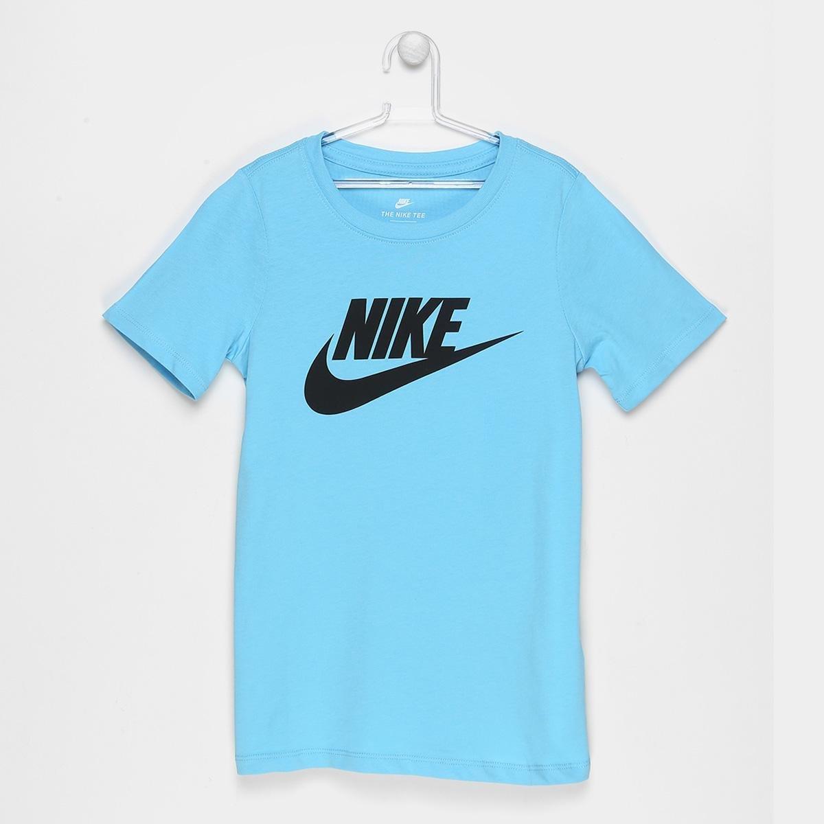 183711fbe5 Camiseta Nike Ctn Crew Fut Icon TD Tee Infantil - Preto e Azul ...