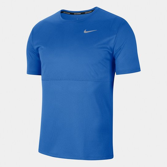 entrenador tubería Portavoz  Camiseta Nike Dri-Fit Breathe Run Masculina - Azul | Netshoes