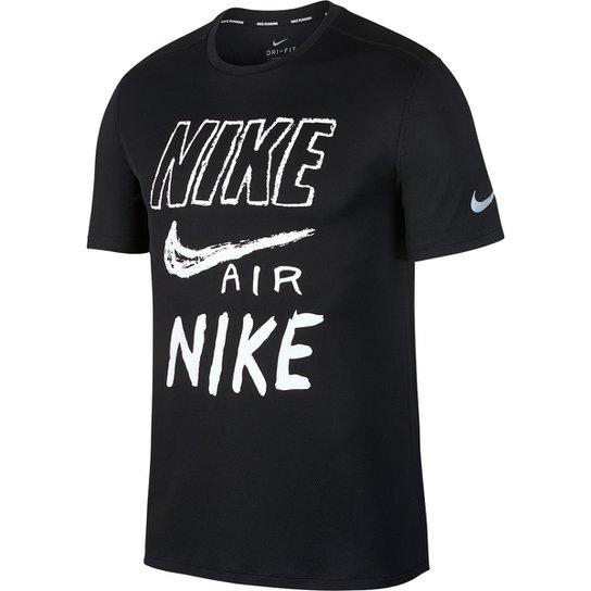 Camiseta Nike DRI-FIT Breathe Run Masculina - Preto+Branco