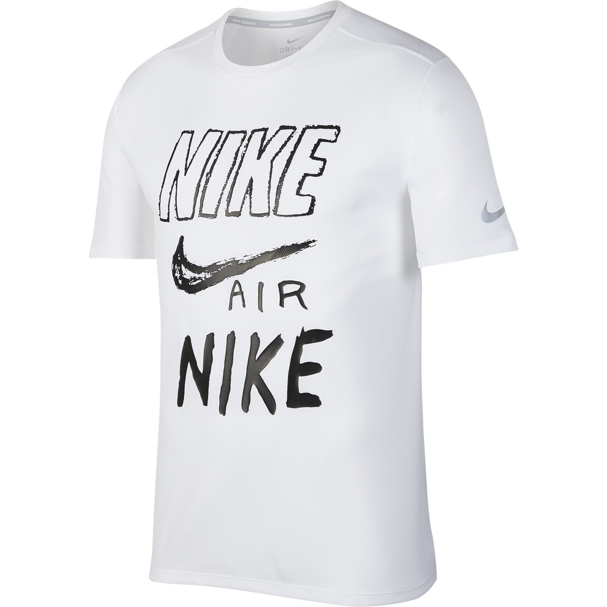 Camiseta Nike DRI FIT Breathe Run Masculina Branco e Preto