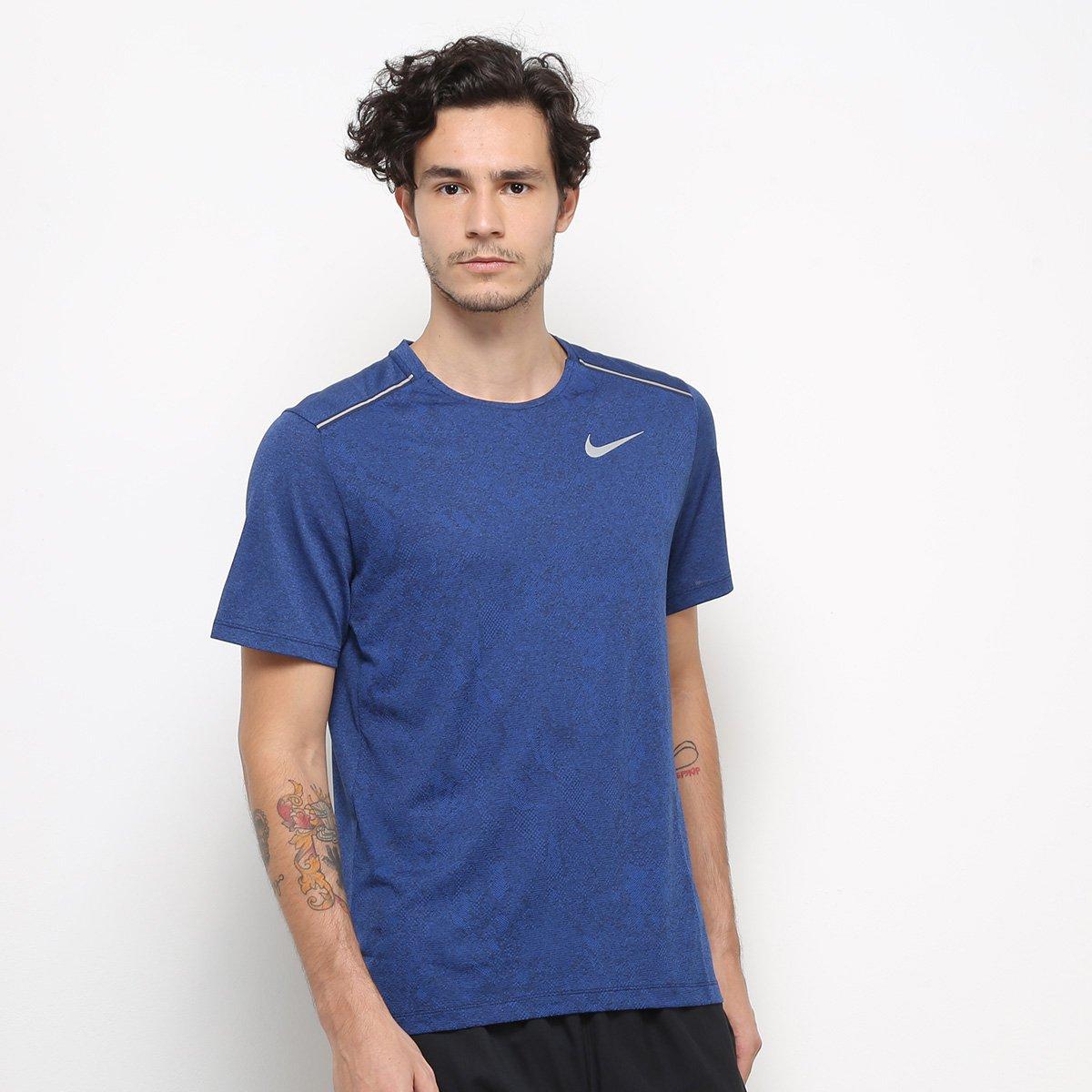 Camiseta Nike DRI-FIT Miler Jac Gx Masculina - Azul Petróleo e Prata
