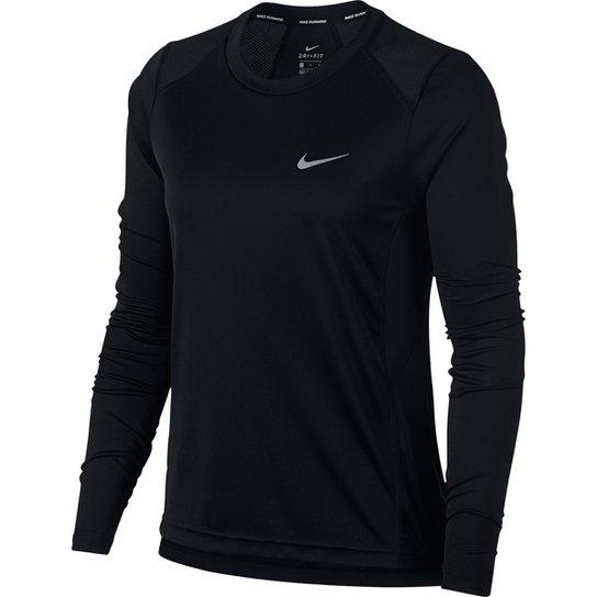 Camiseta Nike DRI-FIT Miler Manga Longa Feminina - Preto
