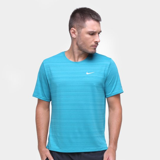 Camiseta Nike Dri-Fit Miler Rule Masculina - Azul Petróleo+Prata