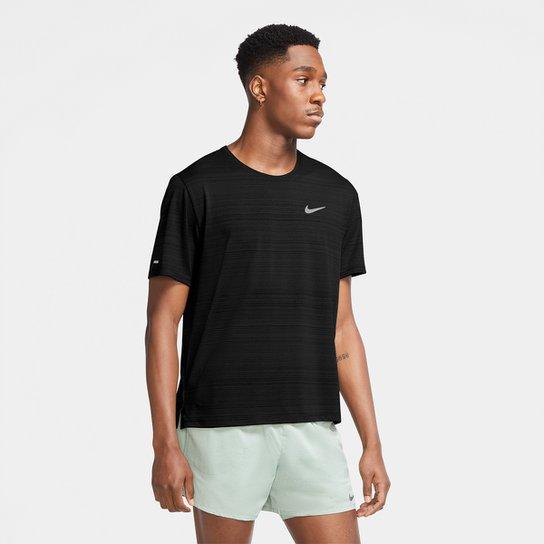 Camiseta Nike Dri-Fit Miler Rule Masculina - Preto+Prata