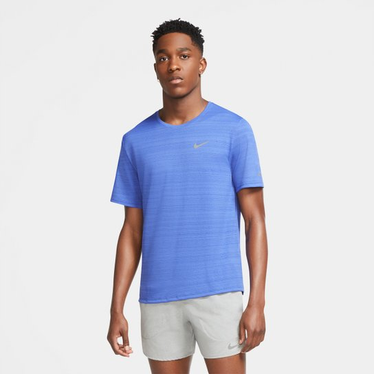 Camiseta Nike Dri-Fit Miler Rule Masculina - Azul+Prata