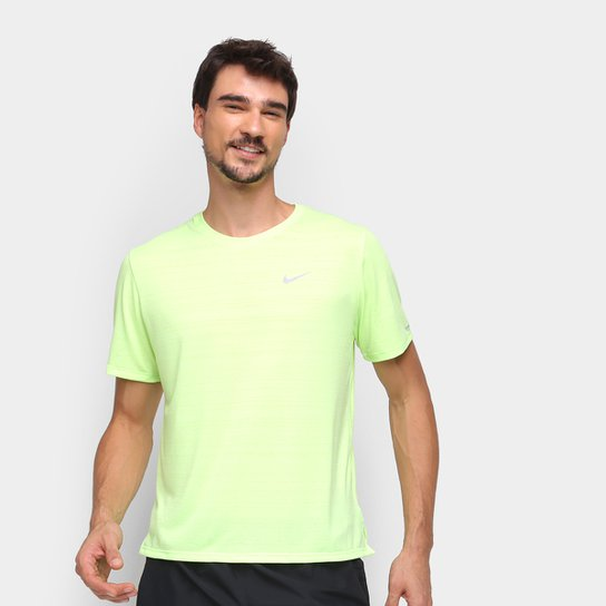 Camiseta Nike Dri-Fit Miler Rule Masculina - Verde+Prata
