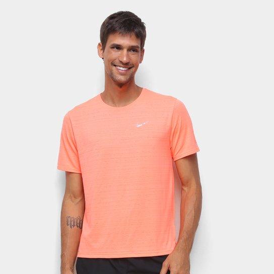 Camiseta Nike Dri-Fit Miler Rule Masculina - Rosa+prata