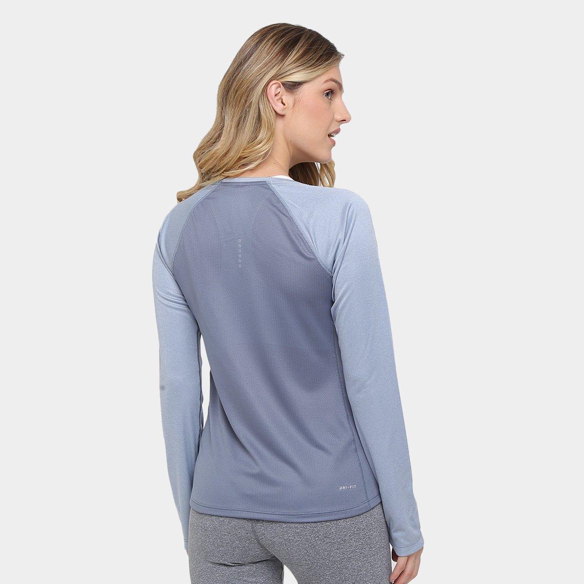 f3aca7b395 Camiseta Nike Dri-Fit Miler Top Manga Longa Feminina - Compre Agora ...