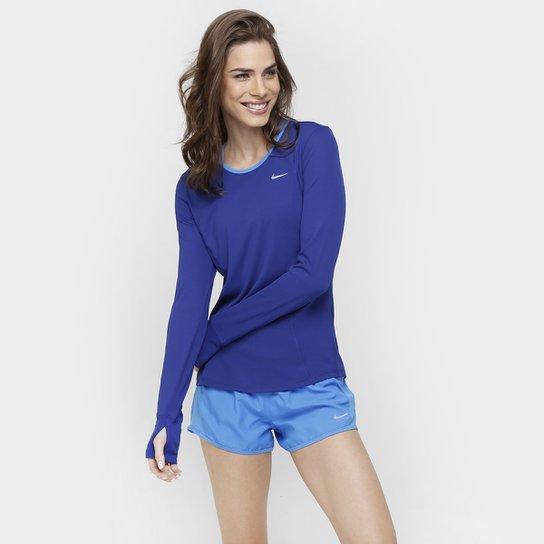 Camiseta Nike Dri-Fit Racer Manga Longa Feminina - Azul Escuro