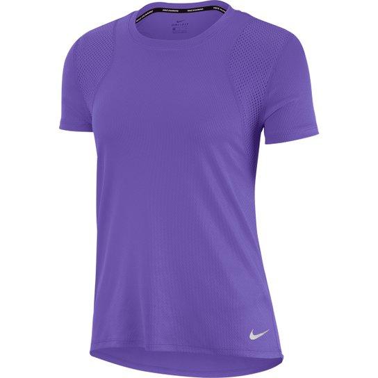 Camiseta Nike Dri-Fit Run Feminina - Roxo+Prata
