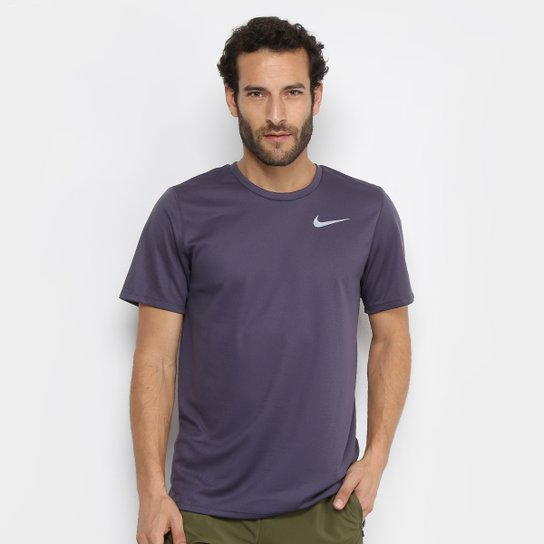 Camiseta Nike DRI-FIT Run Masculina - Chumbo