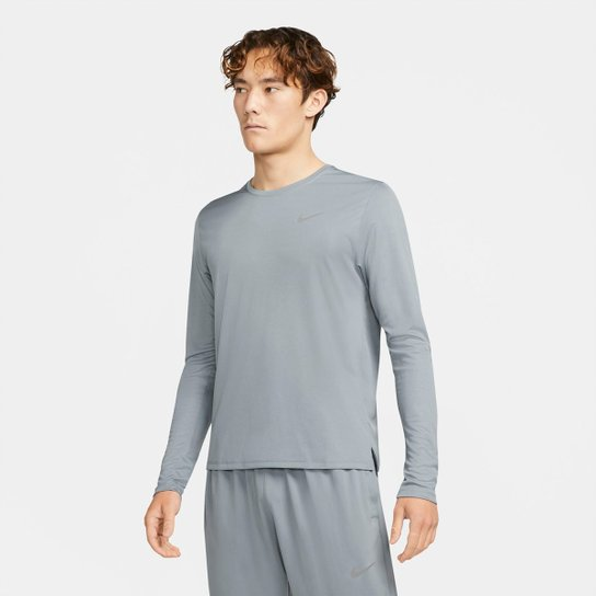 Camiseta Nike Dri-fit UV Miler To Manga Longa Masculina - Cinza+Prata