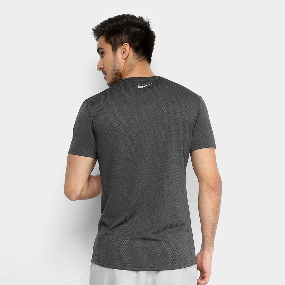 Camiseta Nike Dry Cool Miler SS Masculina - Cinza e Preto - Compre ... be986dcf82205