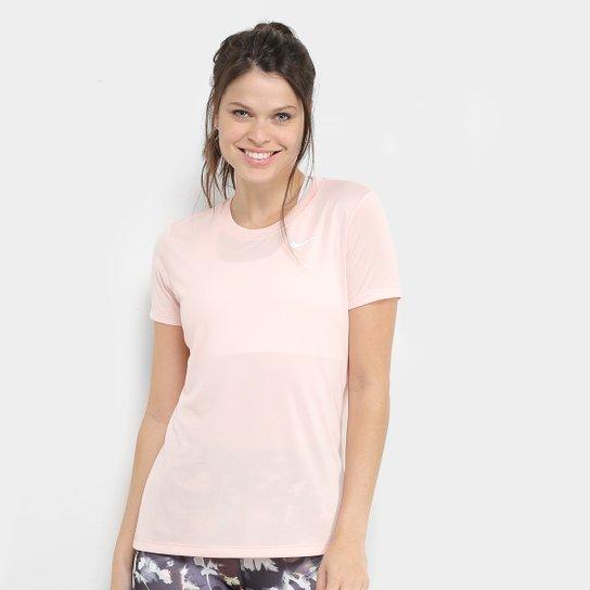 Camiseta Nike Dry Leg Tee Crew Feminina - Rosa+Branco