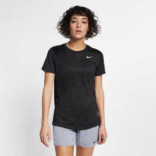 Camiseta Nike Dry Leg Tee Crew Feminina - Preto+Branco