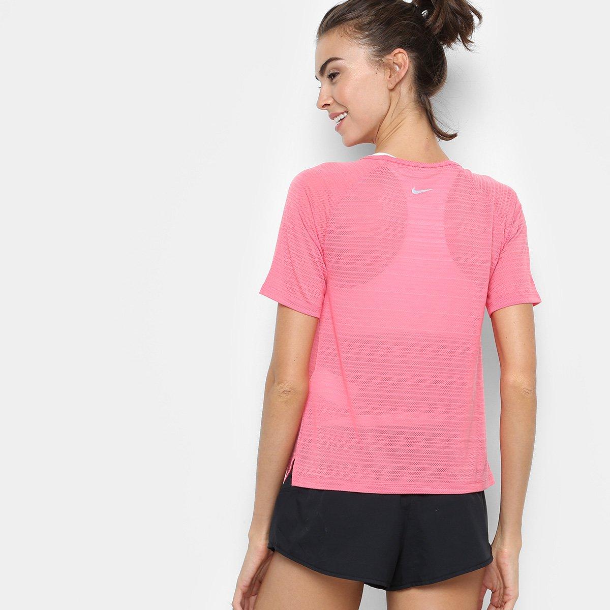 Camiseta Rosa Camiseta Miler Rosa SS Feminina Nike Breathe Miler Feminina Breathe Miler SS Nike Camiseta Nike rrSgA
