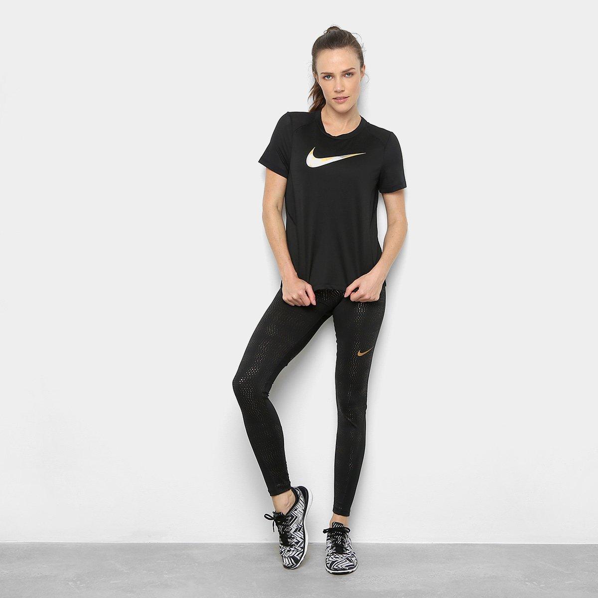 10f973c44a ... Camiseta Nike Miler Ss Metallic Feminina - Preto - Compre Agora ...  416a4b307ebe5d  Camiseta Nike Dry Cool Miler SS Masculina ...