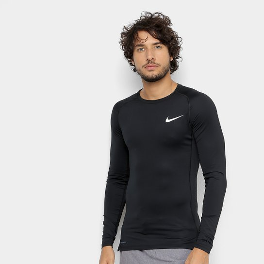 Camiseta Nike Pro Tight Manga Longa Masculina - Preto+Branco