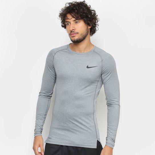Camiseta Nike Pro Tight Manga Longa Masculina - Cinza+Preto