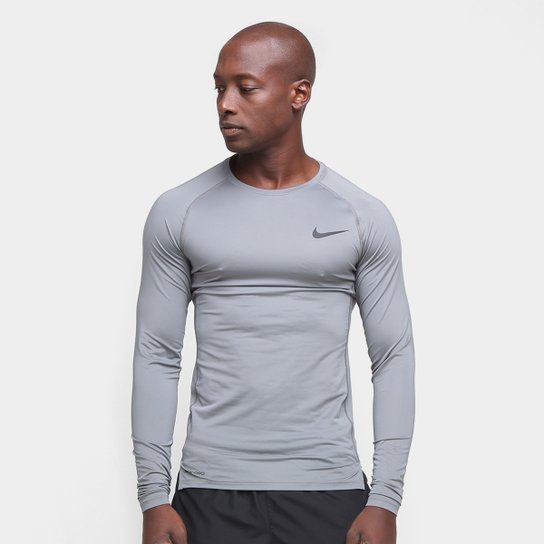 Camiseta Nike Pro Tight Manga Longa Masculina - Grafite+Preto