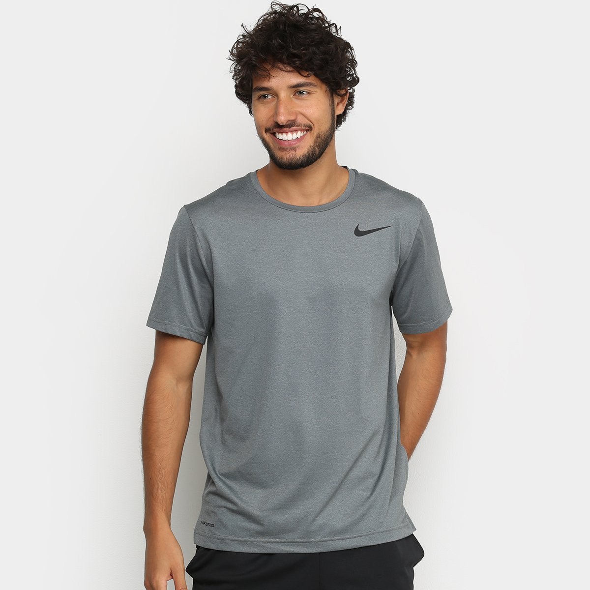triste Para aumentar Error  Camiseta Nike Pro Top Dri-Fit Masculina - Preto e Cinza | Netshoes
